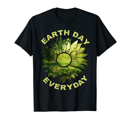 Día de la Tierra Todos los días, 22 de abril, Escena de la Naturaleza Verde Girasol Camiseta