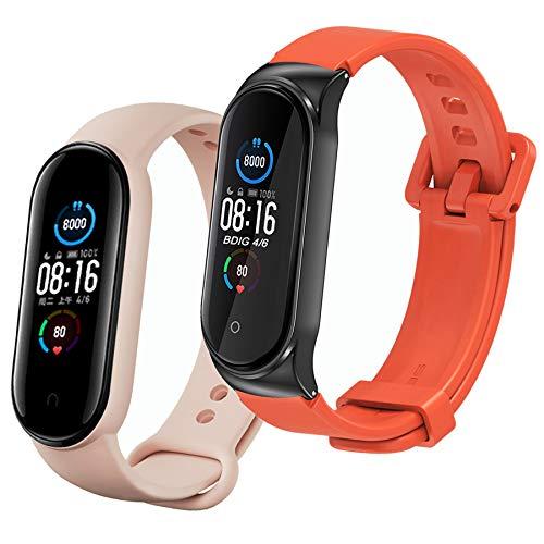 BDIG 1* Correa Compatible para Xiaomi Mi Band 5/4/3, 1* Silicona Pulsera de Repuesto Colorida Correas para Relojes Xiao Mi Band 5 (No Host)