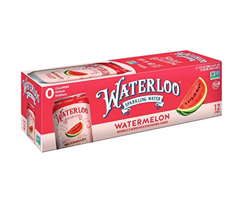 Waterloo Sparkling Water Watermelon Fruit Flavor 12oz Cans (Pack of 12)   Zero Calorie   Zero Sugar   Zero Sodium   Zero Calories   Naturally Flavored