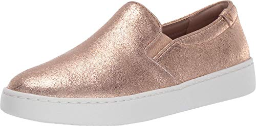 Vionic Women's Pro Mahoney Avery Slip-on - Ladies Water Resistant and Slip Resistant Service Shoes with Concealed Orthotic Arch Support Rose Gold Metallic Suede 6.5 Medium