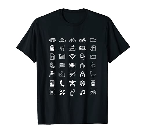 Travel Icons Reise Symbole Wortlos Sprechen Reise Backpacker T-Shirt