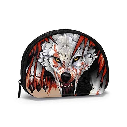 Bloody Wolf Coin Geldbörse für Frauen Reißverschluss Kleine Taschen Brieftasche Wirel Headset Pack