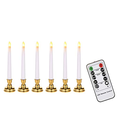 Mobestech LED Taper Candle Flameless LED Window Candles with Remote Flickering Votive Candle Light Christmas Candle Light for Home, 6pcs