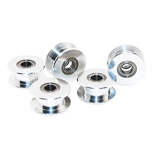 Redrex 5Pcs Zahnlos GT2 5mm Bohrung Timing-Idler Pulley für 3D-Drucker 6 mm Breite Zahnriemen