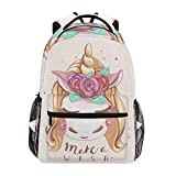 Carino Unicorno con i capelli biondi Scuola zaino per ragazzi ragazze bambini borsa da viaggio Bookbag