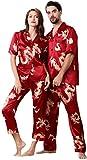 Pijama Pareja Pijama de satén de Seda Fina Pijamas Set Establece la Ropa de Noche de Manga Corta de Loungewear, Rojo, Pijamas de Verano M Moda (Color : Black, Size : XXXL)