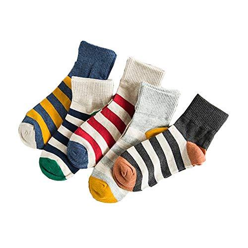 CLW In Rohr Socken Bördeln gestreiften Baumwollbeiläufigen Serie weiblichen Korean Institute of Wind Gezeiten fünf Paar Socken