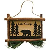 Rustic Axentz Bear Wooden Sign Collectible Hanging Ornament, 5-inch, Lake George Souvenir Gift