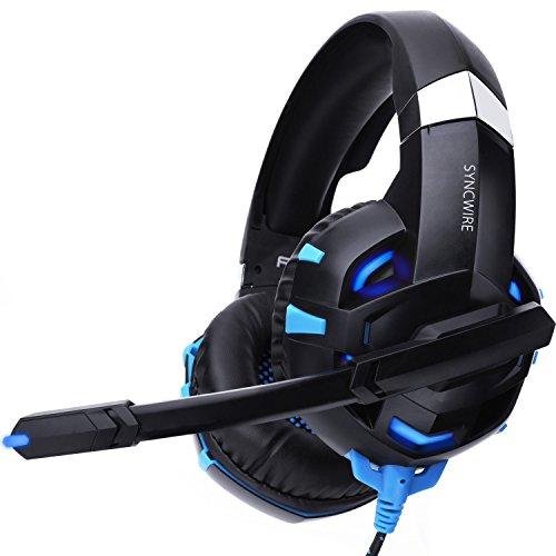 Syncwire Gaming Headset PS4 Kopfhörer - Surround Sound 7.1 Kopfhörer Gamer Head Set mit Mikrofon & LED-Licht, On Ear Ohrhörer für PS4, PC, Xbox One, Laptop, LX20, LX30, Nintendo Switch Spiele