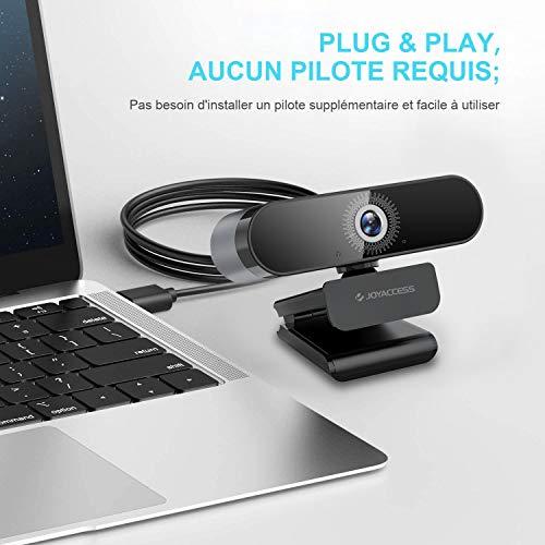 JOYACCESS Business Webcam für PC, USB 2.0, Autofokus, Web-Kamera, Full HD, 1080p/60ps, mit Mikrofon, Weitwinkel, 120° für Computer, funktioniert mit Skype, Zoom, WebEx, Lync