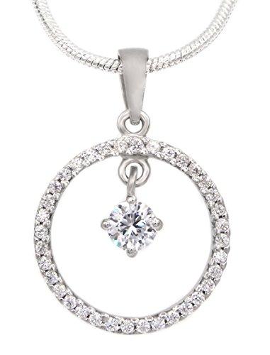 Collier Kreis 925 Sterling Silber 38 Zirkonia 45cm Silberkette Halskette Kette Damen