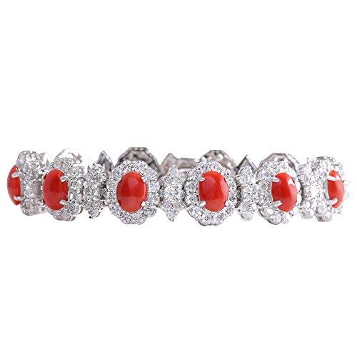 18.77carati naturale corallo oro bianco diamante braccialetto per le donne