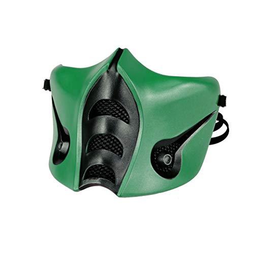 Mortal Kombat Reptile Mask, Jade/Sub-Zero/Kabal/Saibot/Scorpion/Smoke Resin Mask Green Halloween Costume Accessory (Sub-zero MK9)