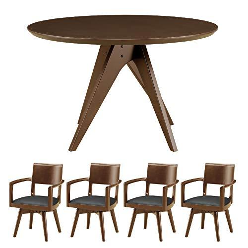 直径120cmの丸テーブルダイニング5点セット ダイニングセット ダイニングテーブルセット 4人掛け 丸型 円形 高級 テーブル 椅子4脚セット ダイニングテーブル 幅120 4人〜6人掛け 無垢材 突き板 チェア 椅子 テーブル 北欧 新生活 おしゃれ