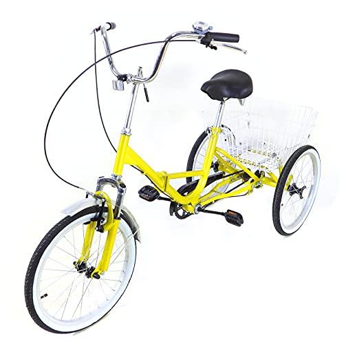 """20"""" U-Typ 1 Geschwindigkeit faltbares Dreirad, Erwachsenes 3 Rad Fahrrad aus Kohlenstoffstahl mit Korb, Helles Gelb"""