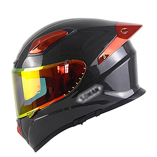 NINOMI Casco De Motocicleta, Fibra De Carbono Frontal hacia Arriba Cara Completa Casco Abatible Casco Modular De Motocicleta para Motocicleta Scooter Ciclomotor Unisex Certificado Ece/Dot
