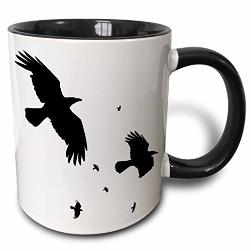 3dRose mug_78697_4'A Murder of Crows- animal, bird, birds, crow, halloween, myth, mythological, mythology, silhouette' Two Tone Black Mug, 11 oz, Multicolor