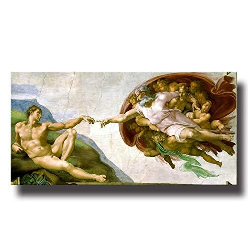 Gigoo Michelangelo Creación de Adam Carteles artísticos de Pared impresión Lienzo Pintura Capilla Sixtina imágenes de Techo para decoración de habitación 50x100 cm sin Marco