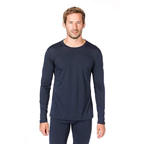 Super.natural Tee-shirt Manches Longues pour Hommes, Laine mérinos, M BASE LS 140, Taille: XL, Couleur: Bleu foncé