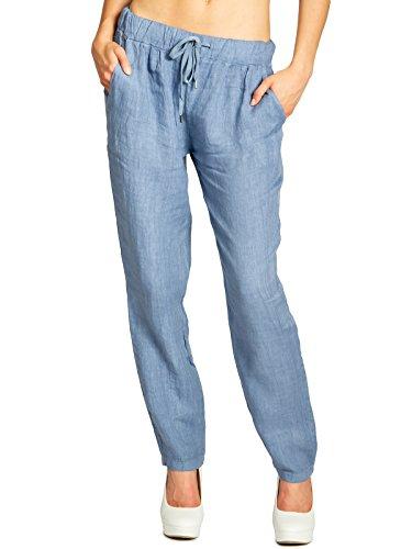 Caspar KHS045 leichte Damen Casual Sommer Freizeit Hose Leinenhose, Farbe:Jeans blau, Größe:XXL - DE44 UK16 IT48 ES46 US14