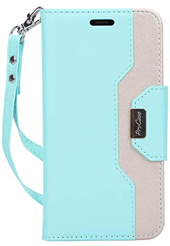 ProCase Wallet Case for iPhone XR, Folio Flip Case with Kickstand Card Holders Mirror Wristlet, Folding Stand Protective Cover for Apple iPhone XR 6.1' 2018 Release -MintGreen