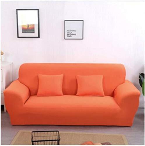 Allenger Non-Slip Stretch Sofa Throws,Einfarbige Stretch-Sofabezug, Vier Jahreszeiten universelle rutschfeste Sofabezug, einfarbige Möbel staubdichte Sofakissenbezug-Orange_190-230cm