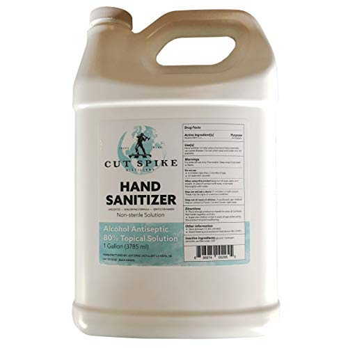 Cut Spike Distillery Hand Sanitizer, 80% Alcohol Antiseptic, Gentle, Non-Drying Formula, Unscented, 1-Gallon Jug (128 oz), Made in USA