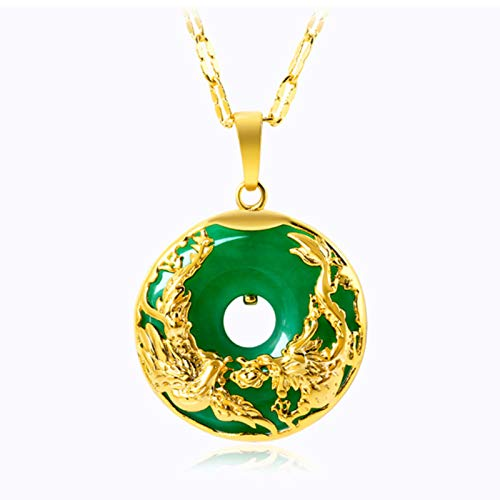 925 sterling silver 27mm wishful dragon and phoenix safe buckle plated 24K gold imitation green chalcedony pendant female clavicle chain