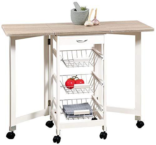 Kesper Mobiler Küchenwagen mit ausklappbarer Arbeitsplatte, 3 Ablage Ebenen, Schublade, Gitterkörbe, ausgeklappt ca. 100 cm, FSC-Holz weiß/Eichendekor