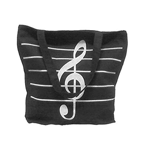 LUOEM Leinwand Handtasche Schultertaschen Musik Symbole