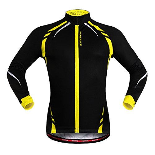 WOSAWE Uomini Fleece Termico Giacca Ciclismo Antivento Bici Bicicletta Abbigliamento Maglie (Giallo L)
