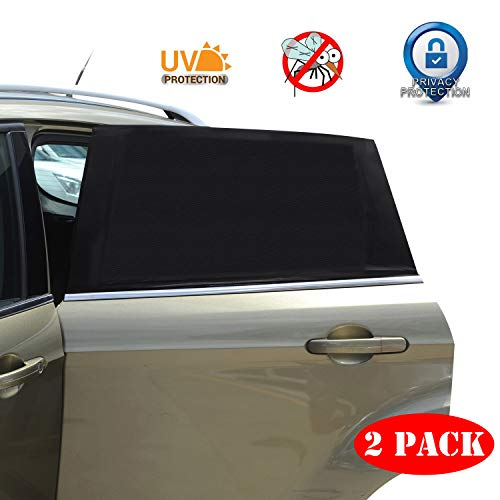 Universal Car Window Sun Shade - 2 Pack Breathable Mesh Car Rear Side Window Shade Sunshade UV Protection for Baby Family Pet, Mosquito Net Curtains Fit for Most(95%) of Cars, Cover Full Window