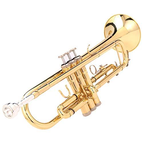 BLKykll trompet, leren spelen een kleine muziekinstrument trompet messing standaard bb uitgerust met handschoenen, mondstukken, draagtassen