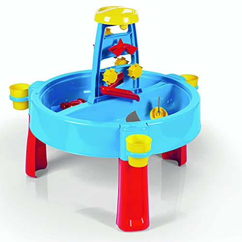 Dolu Table de jeu 3 en 1 bleu sable et eau - Bureau intérieur et extérieur avec couvercle pour enfants de 2 à 8 ans