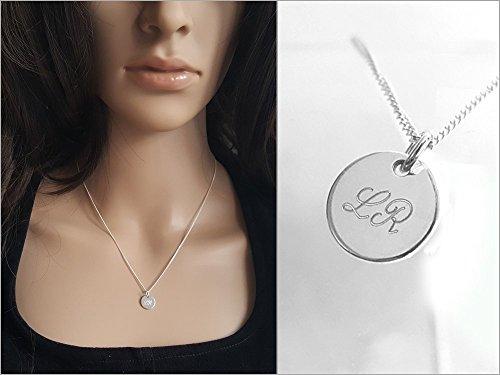Silberplättchen mit Gravur, Silberkette, Rundes Plättchen Halskette, 925 Sterlingsilber, Initial Kette Silber