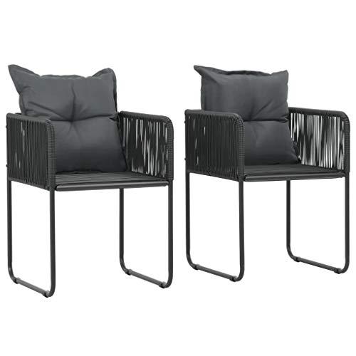 Festnight Lot de 2 Chaises de Jardin résine tressée Chaise d Exterieur Chaise pour terrasse Fauteuil Noir 51,5 x 51,5 x 67 cm