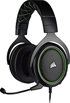 Corsair HS50 PRO Stereo Gaming Headset (Adjustable Memory Foam Ear Cups, Lightweight, Noise-Cancelling Detachable Microphone with PC, PS4, Xbox One, Switch and Mobile Compatibility) - Green from Corsair