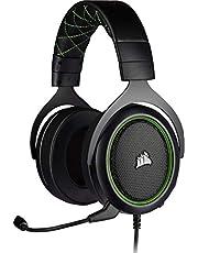 Corsair HS50 Pro Stereo Gaming Headset (anpassningsbart minnesskum öronsnäckor, fjäderlätt design, avtagbar brusreducerande mikrofon, för PC, Xbox One, PS4, Switch och mobila enheter) grön