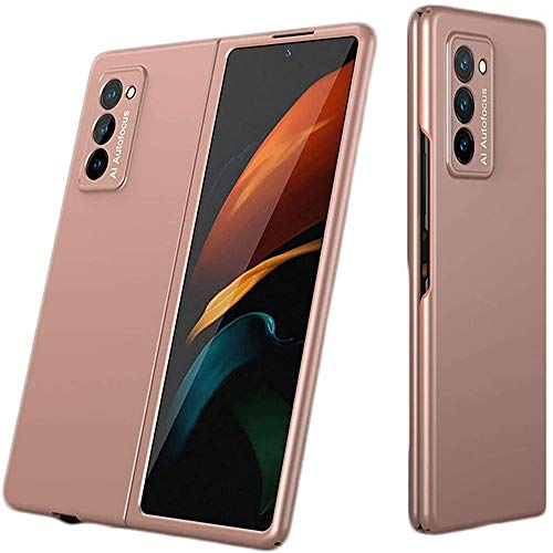 2pcs 360-degree Protection with Elegant Appearance,Anti-fingerprint and Ultra Thin For Samsung Galaxy Z Fold 2 5G Shockproof 2nd Generation Case Cover (Mist Gold)