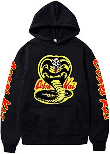 FLYCHEN Sudaderas Sudadera con Estampado de Cobra Kai Acerca de la Serie de televisión Estadounidense Cobra Hoodies para Hombre Unisex - Negro 4664, 4XL