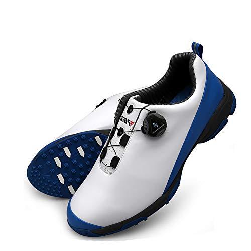 AUZZO HOME Für Männer Golfschuhe Spikes Anti-Skid Wasserdicht Leichte Golf Turnschuhe mit BOA-Spitze-System Shock Breath Endlagendämpfung-Trainer-Schuhe,Blau,42