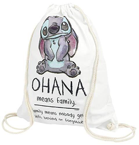 Lilo & Stitch Ohana Unisex Bolsa Deporte Blanco, 100% algodón,