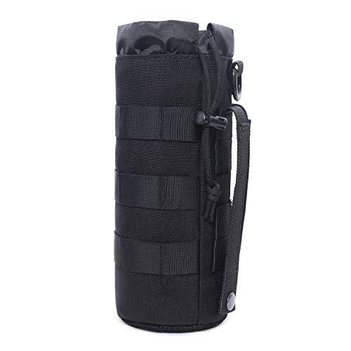 Bolsa táctica Molle para botella de agua, con cordón militar, parte superior abierta y parte inferior de malla, bolsa de viaje para botella de agua, bolsa táctica de...