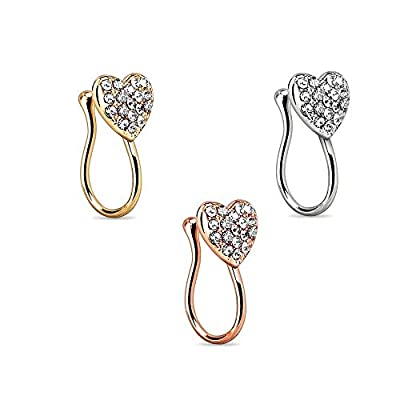Fake Faux Nose Ring Rhinestone Septum Unique Women Nose Studs Nail Hoops Clip on Hanger 3PCS Body Jewelry