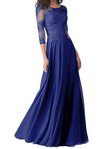 Abendkleider Lang Brautmutterkleider Langarm Spitze Hochzeitskleid Ballkleider A-Linie Chiffon Festkleider Königsblau 48