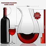 ADMY Wein Dekanter, 1.5L U-Form Weinkaraffe Set aus Kristallglas, Rotwein Bleifreies Glasdekanter, Dekantiergefäß Glasbelüftungsweinkaraffe, Dekantierflasche Geschenk für Weihnachten Weinliebhaber - 5