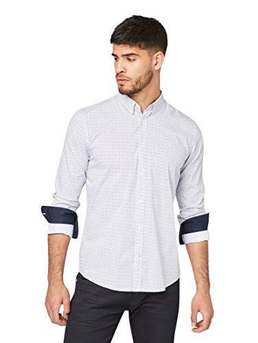 TOM TAILOR Herren Blusen, Shirts & Hemden Gemustertes Hemd Light Blue Geometrical Design,XL