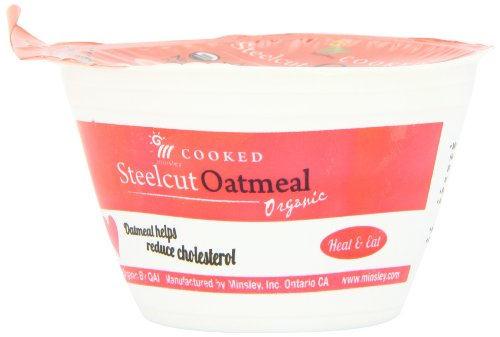 Minsley Cooked Organic Steelcut Oatmeal, 5-Ounce Cup (Pack of 12)