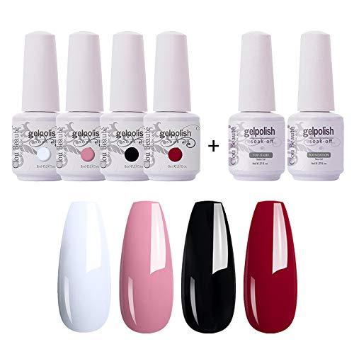 coat gels for nail arts Clou Beaute Soak Off UV Led Nail Gel Polish Kit Varnish Nail Art Manicure Salon Collection Set of 4 Colors with 1 Top Coat and 1 Base Coat 8ml 001