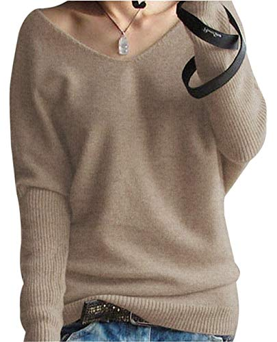 PHELEAD Damen 100% Merinowolle Winterpullover Damen V-Ausschnitt Loose Fledermaus?rmel Strickpulli Oversized Pullover Damen Sexy Warm Sweater (S, Tan)